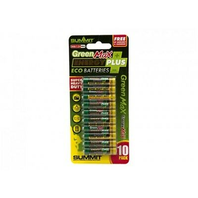 Pack Of 10 Aa Summit Green Max Energy Plus Batteries - 20 Super Heavy x R6 Duty