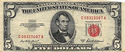 1953A $5 United States Note Series CA
