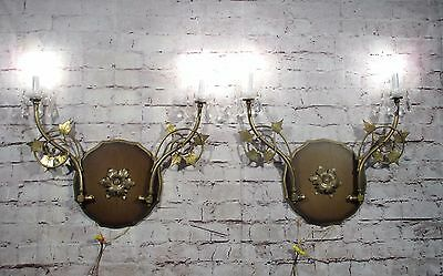Antique Vintage Pair Large Wall Sconces 2 Light Wood and Brass Flowers Crystals