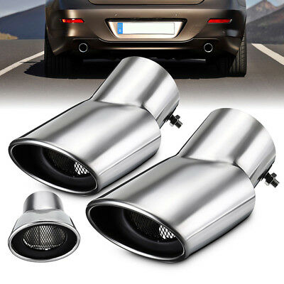 Pair Chrome Stainless Steel Exhaust Mufflers Tail Pipe Oval Tip For Land Rover