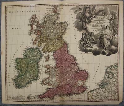 United Kingdom & Ireland 1712 Homann Antique Original Copper Engraved Map