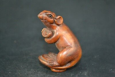 Collectible Old boxWood chinese handwork mouse sycee netsuke japan Statue