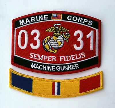 Mos 0331 Machine Gunner Combat Action Tab Hat Patch Us Marines Vet Pin Up Recon