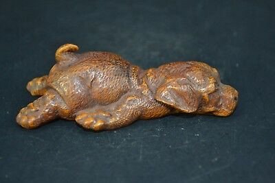 Collectible Old boxWood Carved chinese handwork DOG  get tired netsuke Statue