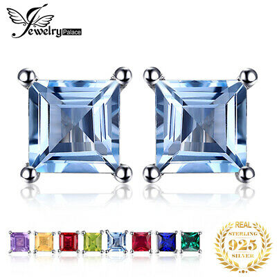 Natural Square Gemstone Solid 925 Sterling Silver Stud Earrings