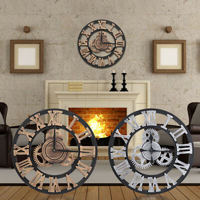 3D Roman Numeral Wall Clock Indoor Outdoor Garden Retro Vintage Decorative Clock