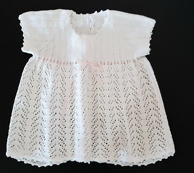 Vintage Baby Hand Knitted White Dress ~  Collectors, Reborn Dolls, Photo Prop