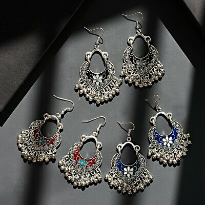 Vintage Women Bohemian Style Heart Shape Flower Hook Carved Tassel Beads Earring