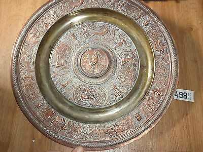 Antique copper plated charger with Roman scene