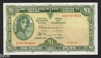 IRELAND P-64c. 1974 One Pound.. Lady Lavery..  aU-UNC