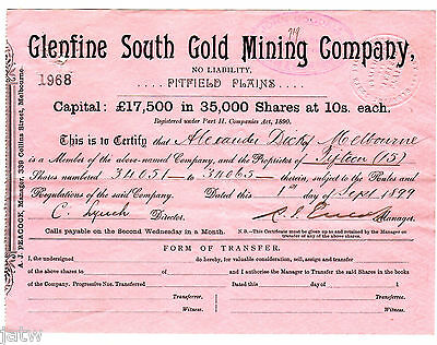 Share Scrip - Mining. 1899 Glenfine South Gold Mining Co - Pitfield Plains Vic