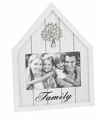 Happy House Family White Wooden Photo Frame Distressed Paint Style