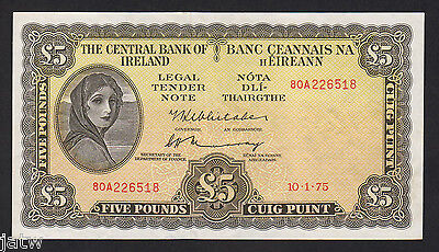 IRELAND P-65c. 1975 Five Pounds.. Lady Lavery.. gEF