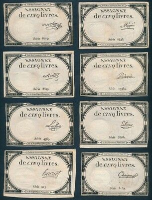 France: French Revolution 31-10-1793 5 Livres. Set of 17 different Signatures