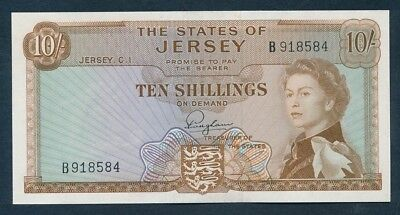 Jersey: 1963 10 Shillings QEII Portrait. Pick 7a, UNC Cat $100