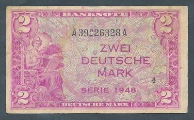 Germany: Federal Republic ALLIED OCCUPATION 1948 2 Mark. Pick 3a VF Cat $333