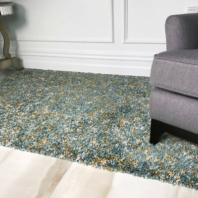 Thick Soft Duck Egg Blue Tonal Shaggy Rugs Non Shed Fluffy Cosy Shaggy Area Rug