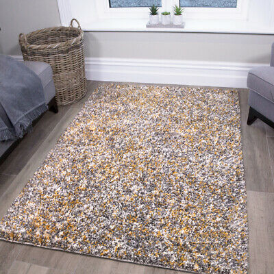 Thick Soft Ochre Yellow Grey Speckled Shaggy Rugs Non Shed Warm Cosy Area Rug UK