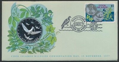 Cook Islands 1977 Wildlife Bird Large Silver $5 Coin & Stamp First Day Cover