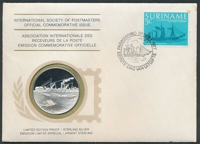 Surinam: 1977 1st Steam Ship Journey Large  Silver Medal PNC (Weight 20g, 38mm)