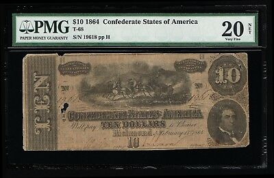 Affordable Genuine Csa T-68 1864 Confederate $10 Note Pmg 20 Very Fine Pp-H
