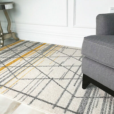 Moroccan Ochre Yellow Grey Trellis Area Rugs Soft Striped Geometric Lounge Rugs