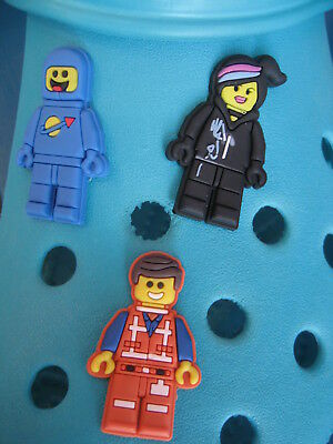 3 Lego Movie Shoe Charms For Crocs & Jibbitz Wristbands. Free UK P&P.