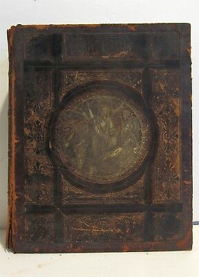 Large Antique C1900 Family Holy Bible Blank Family Pages Illustrated Manuscripts