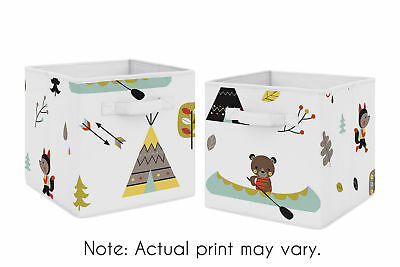 Woodland Outdoor Adventure Foldable Fabric Storage Cube Bins Boxes - 2pc Set