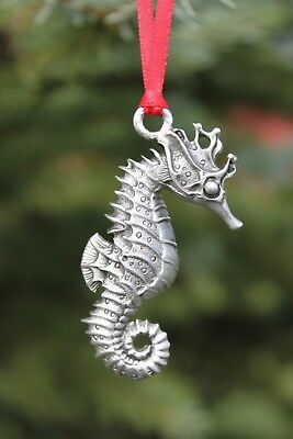 Hastings Pewter Company Lead Free Pewter Seahorse Ornament fish ocean gift NEW
