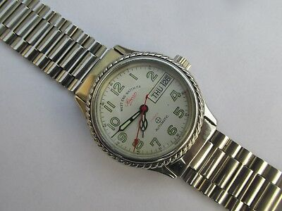 Vintage Men's West End Watch Co Sowar Prima Automatic Day-Date Watch Swiss Made
