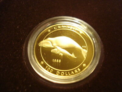 Canadian Bowhead Whale-1988 $100 Gold/ Proof Coin 58.3% Gold & 41.7%  Silver/