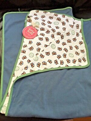Life is Good Baby Blanket TIGER theme Blue, green, white