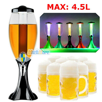 4.5L Cold Draft Beer Tower Dispenser Plastic with LED Lights + Battery kit New