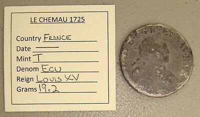 1725 Le Chemau Shipwreck Recovered Louis XV France Silver Ecu