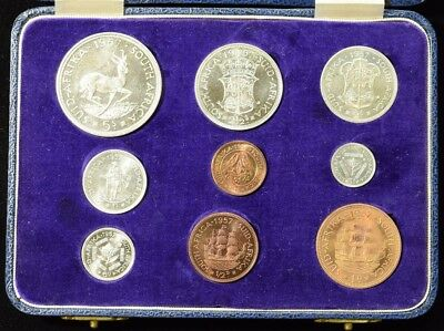1957 South Africa Silver Coin Set 9 Piece