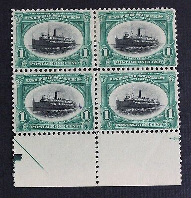 CKStamps: US Stamps Collection Scott#294 1c Block Mint 2NH 2H OG Tiny Thin