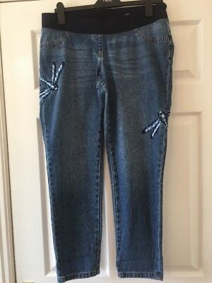 New Next Dragon Fly Maternity Denim Jeans Size 12  reg   bnwt