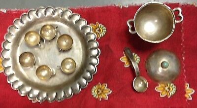 VINTAGE STERLING SILVER MINIATURE 10 PC Soup Tureen w Cups Dollhouse Turquoise