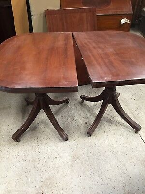 Old Antique MAHOGANY Twin Pedestal  Extending Traditional Table 7/5/H