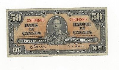 **1937**Canadian $50 Dollar Note BC-26b,  Gor/Tow SN# B/H 2604885