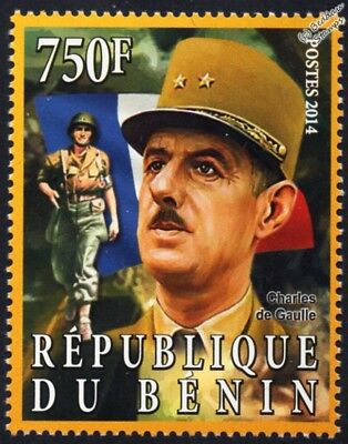 WWII D-Day Commander General Charles de Gaulle/French Army Uniform/Flag Stamp