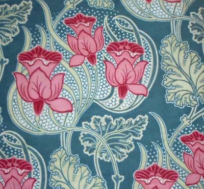 BEAUTIFUL 19th CENTURY FRENCH ART NOUVEAU LINEN COTTON, FLOWERS & FOLIAGE c1900