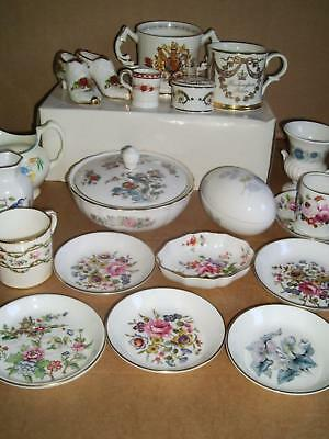 Collection 22 Items Aynsley Wedgwood Coalport Crown Derby Worcester Royal Albert
