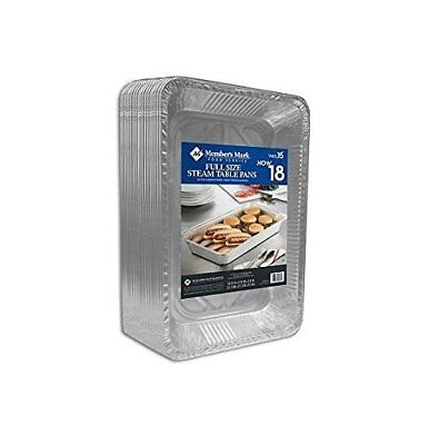 Daily Chef Aluminum Steam Full Size Table Pans - 18 Count