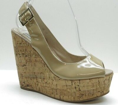 25353b80a5e7 Steve Madden Tan Patent Leather Slingback Platform Wedge Sandal Pumps 8.5   120