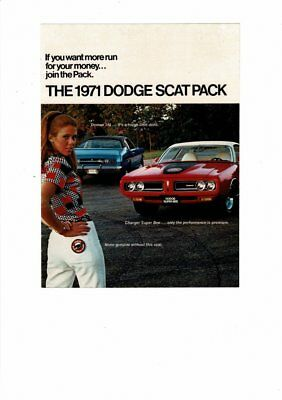 Vintage 1971 Dodge Charger Super Bee Scat Pack 8 Page Ad Print #b520
