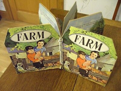 1950s 60s POP-UP FARM YARD WITH COWS PIGS DOGS HORSES TRACTOR SHEEP BARN