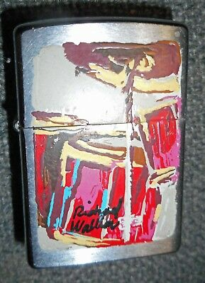 Vintage Zippo Lighter-Hand Painted One of a Kind-Artist Signed-Depicts Drum Kit