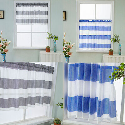Rod Pocket Half Curtain Striped Window Valance Sheer Voile for Cafe Kitchen